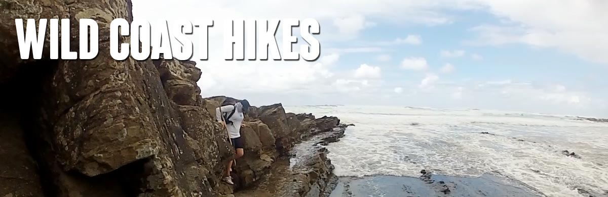 Hiking across a tough beach section on the Wild Coast trail